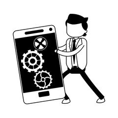 Businessman holding smartphone in black and white