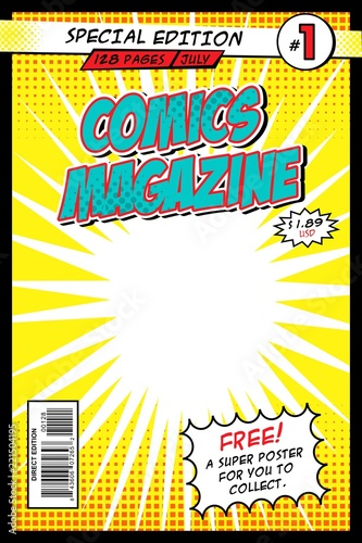 Comic book cover  Template, vector illustration, comic