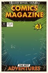 Comic book cover retro. Background gradient. Vector illustration,