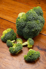 Fresh delicious broccoli on a wooden table