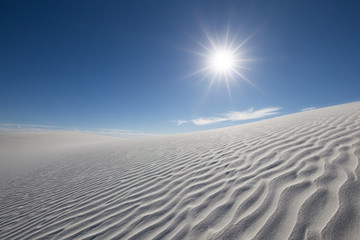 White Sand Dunes with Blue Skies