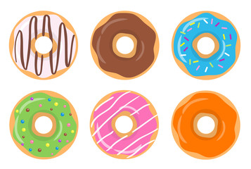 Colorful glazed assorted donut set on white background. Strawberry, orange, chocolate, blue and green glazed donuts. The view from the top. Vector illustration