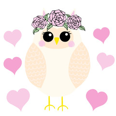 Owl cute with flowers, pattern
