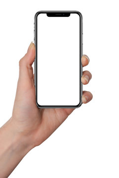 Isolated female hand holding smart phone