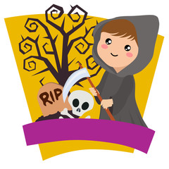 halloween kids grim reaper costume theme