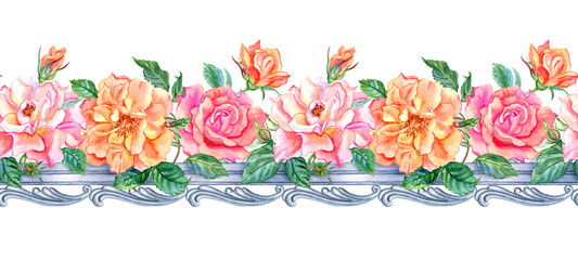 Seamless border of roses and a baroque pattern, watercolor drawing.