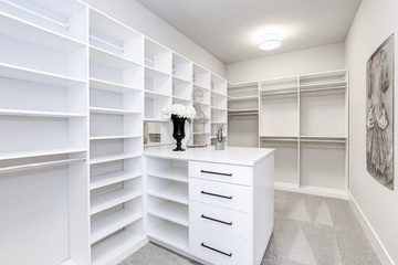 Large modern white wardrobe in luxury house