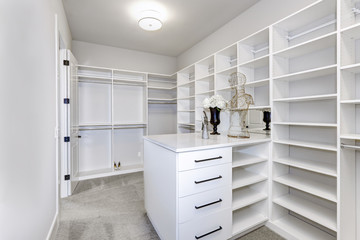 Large white modern wardrobe in luxury house
