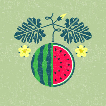 Ripe watermelon illustration. Watermelon with leaves and flowers on shabby background. Flat design. Original simple flat illustration.