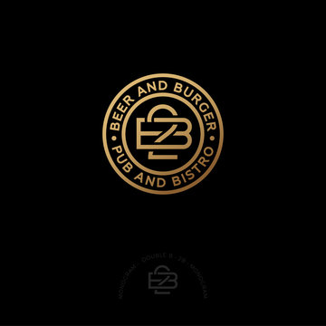 Double B letters. 2B monogram. Beer and Burger pub and bistro. 2B monogram consist of inwrought gold lines with letters, isolated on a circle. Monochrome option.