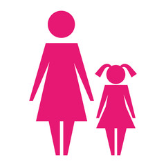 woman mother and daughter female pictogram