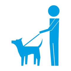 man walking with pet dog pictogram image