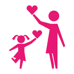 mom and daughter holding love heart pictogram