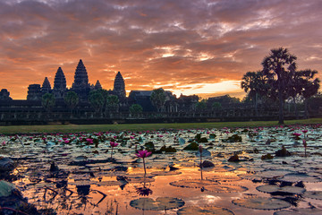 View of Angkor Wat at sunrise, Archaeological Park in Siem Reap, Cambodia UNESCO World Heritage Site Wall mural