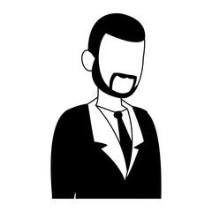 Businessman avatar cartoon in black and white