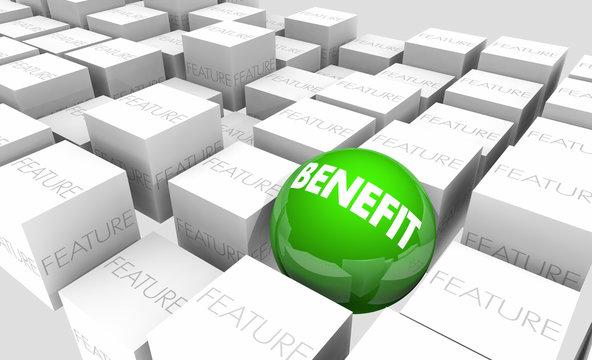 Benefit Vs Feature Advantage Value Sphere in Cubes 3d Illustration