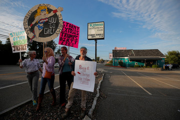 Supporters of Stormy Daniels, whose legal name is Stephanie Clifford, gather outside at the Kittens Gentleman's Club ahead of her performance in Salisbury