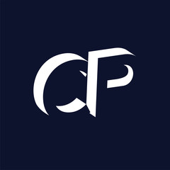 C P initial letter with negative space logo icon vector template