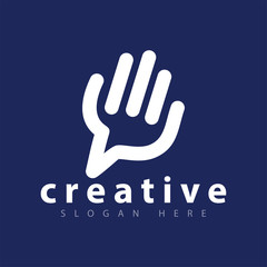 hand line logo icon vector template