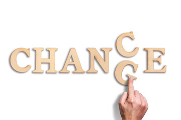 """word """"change"""" turns into """"chance"""" on white Background"""