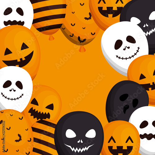 happy halloween card with balloons helium stock image and royalty