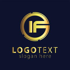 IF initial letter logo icon vector template