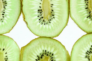 Cross Section of Succulent Low Carb Kiwi Fruit with Seeds