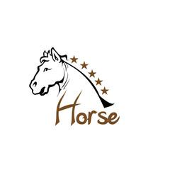 Horse text logotype vector template