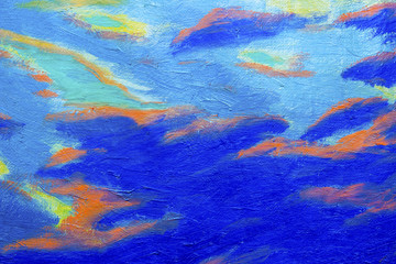 Abstract original oil painting with blue sky and cloud background.