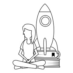 young woman working with rocket and books
