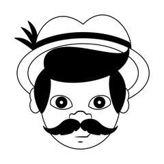 Irish man head with mustache and hat in black and white