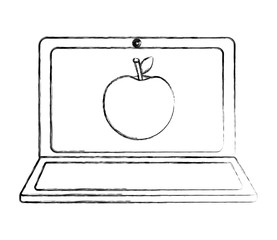 laptop computer and apple fruit