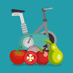 healthy food and fitness icons
