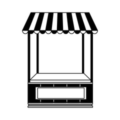 Wooden booth stand in black and white