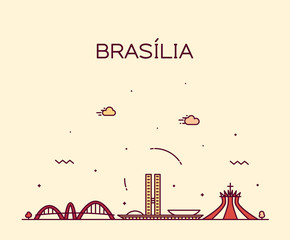Wall Mural - Brasilia skyline, Brazil vector linear style city