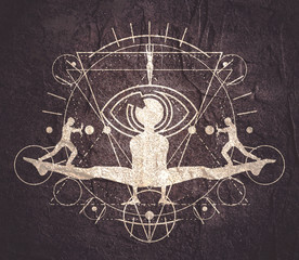 Mystery, witchcraft, occult and alchemy tattoo sign. Mystical vintage gothic geometry thin lines symbol with silhouettes of a men, woman and eye