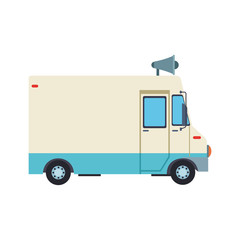 Cargo van with bullhorn