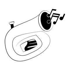 Sousaphone music instrument in black and white