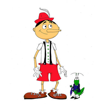 Funny illustration about Pinocchio and his friend Jiminy Cricket