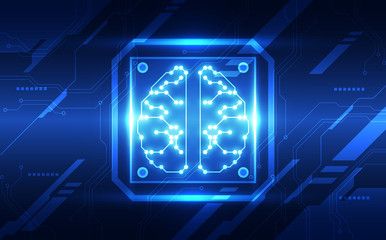 Vector Abstract artificial intelligence brain futuristic circuit board, Illustration high digital technology blue color
