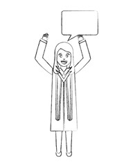 young woman graduated with hands up and speech bubble