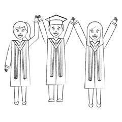 group of graduates with hands up avatar character
