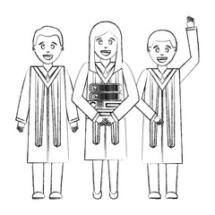 group of graduates with books avatar character