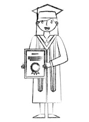 graduate woman in graduation robe and cap holds diploma