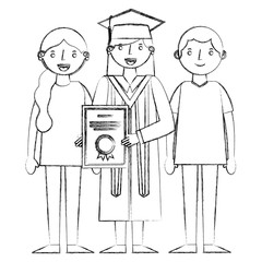 graduate woman with diplom and her parents