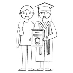 smiling graduate woman holds certificate and her mother
