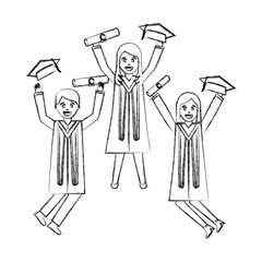 celebrating graduation people with certificate