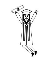 celebrating happy graduate woman in graduation dress