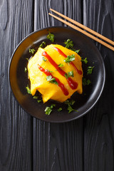 Delicious omurice omelette stuffed with rice, chicken and vegetables served on a plate. Vertical top view