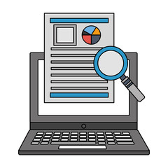 laptop with document report magnifying glass